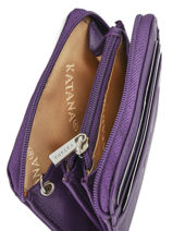 Purse Zippered Leather Katana Violet daisy 553042-vue-porte