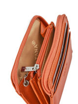 Purse Zippered Leather Katana Orange daisy 553042-vue-porte
