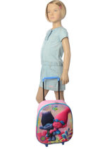 Wheeled Backpack Trolls Multicolor poppy 16129PYF-vue-porte