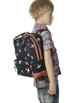 Backpack Mini Kidzroom Gray black and white 30-8975-vue-porte