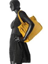 Shoulder Bag Dewashed Leather Milano Yellow dewashed DE17115-vue-porte