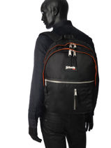 Backpack 2 Compartments Schott Black army 18-63701-vue-porte