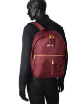 Backpack 1 Compartment Schott Red army 18-62704-vue-porte