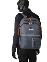 Backpack 2 Compartments Schott Gray army 18-63708-vue-porte