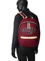 Sac à Dos 1 Compartiment Schott Rouge college 18-62724-vue-porte