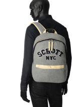 Backpack 1 Compartment Schott Gray college 18-62728-vue-porte