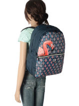 Backpack 2 Compartments With Free Pencil Case Laissez lucie faire Yellow spring LFE12090-vue-porte