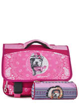 Cartable 2 Compartiments Avec Trousse Offerte Teo jasmin Rose bandana TAL13007