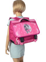 Satchel 2 Compartments With Free Pencil Case Teo jasmin Pink bandana TAL13007-vue-porte