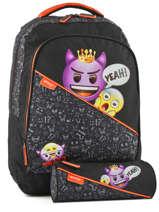 Backpack 1 Compartment With Free Pencil Case Emoji Black afraid EMR12011