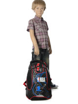 Wheeled Backpack 2 Compartments Nba Black basket 183N204R-vue-porte