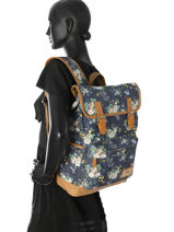 Backpack 1 Compartment Basilic pepper Blue liberty G653-FLO-vue-porte