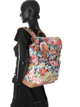 Backpack 1 Compartment Basilic pepper White liberty G653-FLO-vue-porte