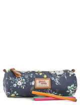 Trousse 1 Compartiment Basilic pepper Bleu liberty P0033FLO-vue-porte