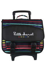 Wheeled Schoolbag 2 Compartments Little marcel Multicolor raye 8873