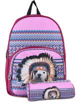 Backpack 1 Compartment With Free Pencil Case Teo jasmin Violet teo apache TAI22037