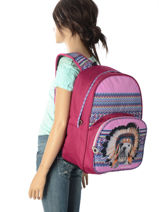Backpack 1 Compartment With Free Pencil Case Teo jasmin Violet teo apache TAI22037-vue-porte
