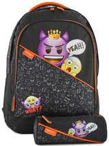 Backpack 2 Compartments With Free Pencil Case Emoji Black afraid EMR12090