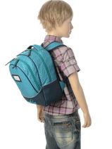 Backpack For Kids 2 Compartments Cameleon Blue retro RET-PRI-vue-porte