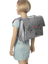 Satchel 1 Compartment Bakker Gray glitter CAR38GLI-vue-porte
