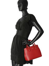Small Tote Bag Dryden Leather Lauren ralph lauren Red dryden 31719699-vue-porte