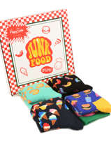 Coffret Cadeau Junk Food Happy socks Noir pack XFOD09