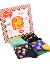 Coffret Cadeau Junk Food Happy socks Noir pack XFOD09
