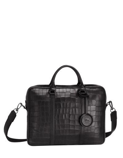 Longchamp Croco block Briefcase Black
