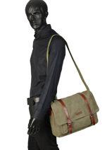 Messenger Bag Etrier Green canvas ECAN02-vue-porte