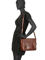 Shoulder Bag Republique Leather Hexagona Brown republique 114584-vue-porte