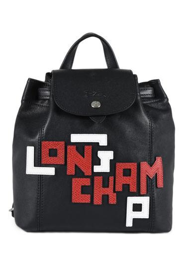 Longchamp Le pliage cuir lgp Backpack Black