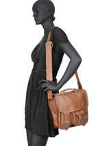 Leather Cartable Shoulder Bag Paul marius Brown vintage CARTAB-S-vue-porte