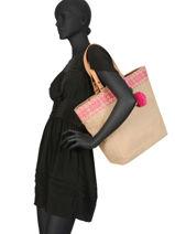 Sac Shopping Jute Format A4 Miniprix Rose beach 87555-vue-porte