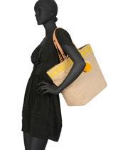 Jute Tote Bag A4 Format Miniprix Yellow beach 87555-vue-porte