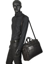 Leather Jasper Briefcase Arthur et aston Black jasper 1589-37-vue-porte