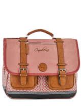 Satchel For Girls 3 Compartments Cameleon Pink vintage print girl VIG-CA41