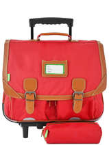 Wheeled Schoolbag With Matching Pencil Case Tann's Red les unis 43117