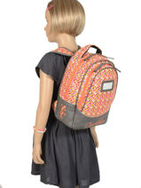 Backpack For Kids 2 Compartments Cameleon Gray retro RET-SD31-vue-porte