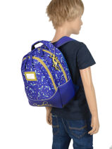 Backpack For Kids 2 Compartments Cameleon Blue retro RET-SD31-vue-porte