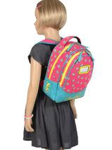 Backpack For Kids 2 Compartments Cameleon Pink retro RET-SD31-vue-porte