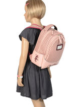 Backpack For Kids 2 Compartments Cameleon Pink retro vinyl REV-SD31-vue-porte