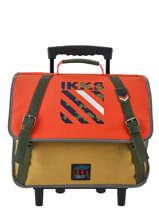 Cartable à Roulettes 2 Compartiments Ikks Orange army 42526