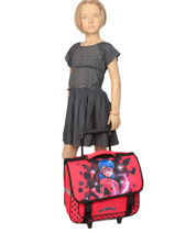 Wheeled Schoolbag Miraculous Red lady bug 12256LTF-vue-porte