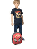 Wheeled Backpack Mask Spiderman Red mask SPINI04-vue-porte