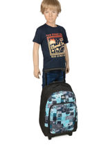 Wheeled Backpack With Free Pencil Case Quiksilver Black youth access kids QBBP3035-vue-porte