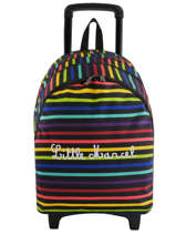 Backpack With Wheels 2 Compartments Little marcel Multicolor raye 8875
