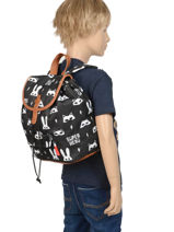 Backpack Kidzroom Gray black and white 30-8177-vue-porte