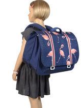 Maxi Schoolbag 2 Compartments Jeune premier Blue canvas ITX19-vue-porte