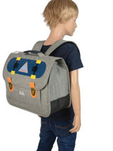 Schoolbag 2 Compartments With Matching Pencil Case Poids plume Gray skate SKA1938-vue-porte