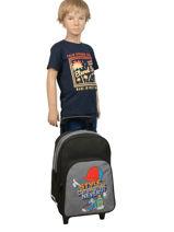 Wheeled Backpack Miniprix Gray school 15103-vue-porte